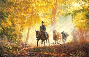 "Tim Cox Hand Signed and Numbered Limited Edition: ""Autumn Morning Ride"""