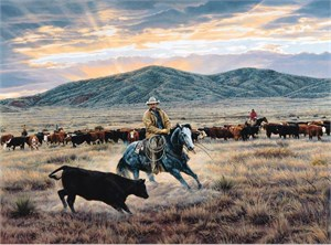 """Tim Cox Hand Signed and Numbered Limited Edition AP Canvas: """"Dance Of The Blue Cayuse"""""""