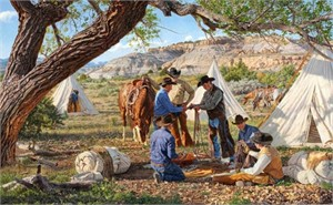 """Tim Cox Cowboy Artists of America Limited Edition Print:""""Trading Treasures"""""""