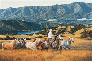 "Tim Cox Hand Signed and Numbered Limited Edition Canvas: ""Running With The Mares"""