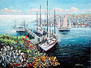 "Kerry Hallam Limited Edition Multiple Oil Painted Originals of Canvas: "" Home Port, New England Harbor """