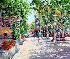 "Kerry Hallam Limited Edition Multiple Oil Painted Originals of Canvas: "" St. Tropez Marketplace """