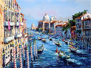 """Kerry Hallam Handsigned & Numbered Limited Edition Serigraph on Paper:""""Grand Canal Venice """""""