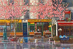 "Liudmila Kondakova Hand-signed and Numbered Limited Edition Serigraph on Canvas:""Shakespeare & Company"""