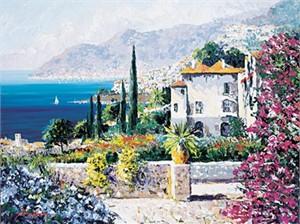 """Kerry Hallam Limited Edition Hand-Pulled Serigraph on Canvas: """" Villa di Mare (La Dolce Vita) """""""