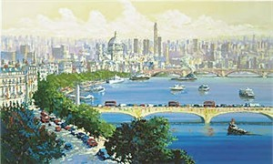 """Kerry Hallam Limited Edition Hand-Pulled Serigraph: """" Thames at Waterloo """""""