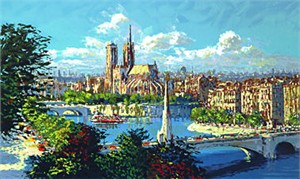 """Kerry Hallam Limited Edition Hand-Pulled Serigraph: """" Notre Dame a la Tournelle """""""
