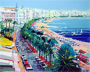 """Kerry Hallam Limited Edition Hand-Pulled Serigraph on Paper: """" Cannes """""""