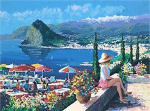 """Kerry Hallam Handsigned & Numbered Limited Edition Serigraph on Paper:""""Lugano """""""