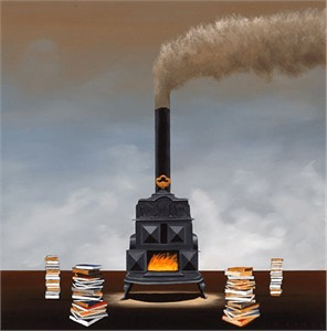 """Robert Deyber Artist Signed Limited Edition Hand-crafted Stone Lithograph:""""Cooking the Books"""""""