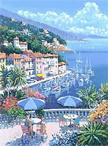 "Kerry Hallam Handsigned & Numbered Limited Edition Serigraph:"" Portofino"""