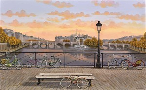 "Liudmila Kondakova Hand-Signed Archival Print on Canvas:""Pont des Arts"""
