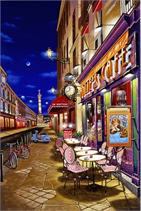 "Liudmila Kondakova Limited Edition Serigraph on White Paper: ""Folie's Cafe"""
