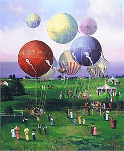 """Sally Caldwell Fisher Limited Edition Serigraph on Paper: """" Balloons, Balloons """""""