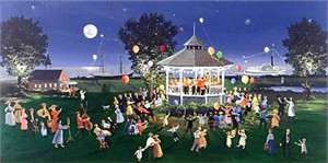 "Sally Caldwell Fisher Limited Edition Serigraph on Paper: "" Concert on the Green """