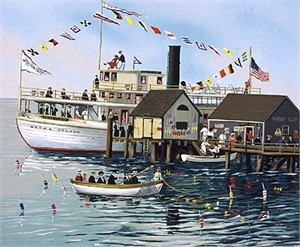"Sally Caldwell Fisher Limited Edition Serigraph on Paper: "" Green Island Ferry """