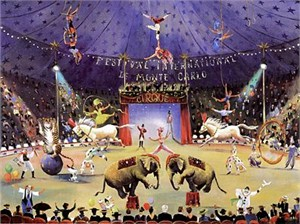 "Sally Caldwell Fisher Limited Edition Serigraph on Paper: "" Monte Carlo Cirque """