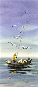 "Sally Caldwell Fisher Limited Edition Lithograph on Paper: "" Early Catch """