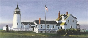 "Sally Caldwell Fisher Limited Edition Lithograph on Paper: "" Pemaquid Light """