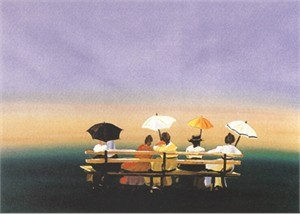 "Sally Caldwell Fisher Limited Edition Lithograph on Paper: "" Rusticators Watching the Sunset """
