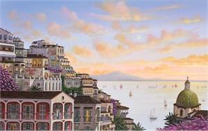 """Liudmila Kondakova Hand-Signed Archival Print on Canvas:""""Sunset in Positano"""""""