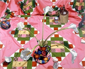 "Nancy Hagin Limited Edition Serigraph on Paper: "" Pink Quilt """