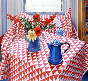 "Nancy Hagin Limited Edition Serigraph on Paper: "" Red and White Quilt """