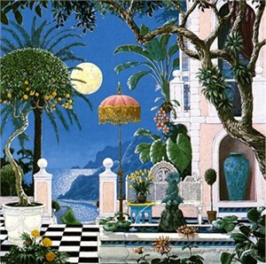 "John Kiraly Limited Edition Serigraph on Paper: "" Positano Moon """