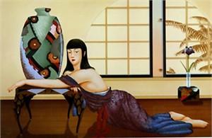"Muramasa Kudo Limited Edition Serigraph on Paper: "" Deco Vase """
