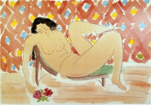 "Muramasa Kudo Limited Edition Serigraph on Paper: "" Reclining with Roses """