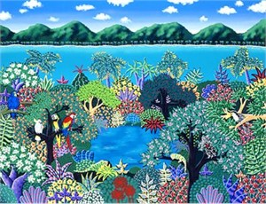 """Joanne Netting Limited Edition Serigraph on Paper: """" Tropical Rainforest """""""