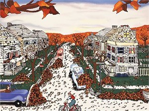"Linnea Pergola Limited Edition Serigraph on Paper: "" Center Avenue in Fall """