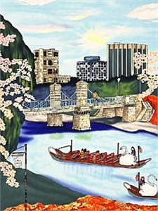 "Linnea Pergola Limited Edition Serigraph on Paper: "" Spring Boat Ride """