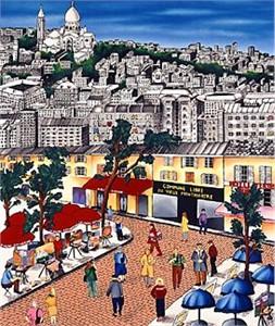 "Linnea Pergola Limited Edition Serigraph on Paper: "" Montmartre"""