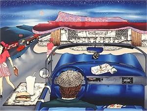 "Linnea Pergola Limited Edition Serigraph on Paper:""Pete's Burger"""