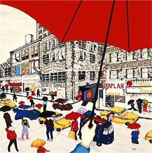 """Linnea Pergola Limited Edition Serigraph on Paper:""""Red Umbrella"""""""