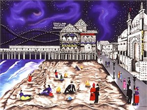 """Linnea Pergola Limited Edition Serigraph on Paper: """" Seaside Nights - Nothern Lights """""""