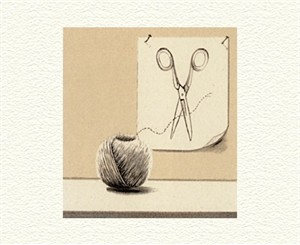 "Fanny Brennan Limited Edition Hand-Crafted Lithograph: "" String and Scissors """
