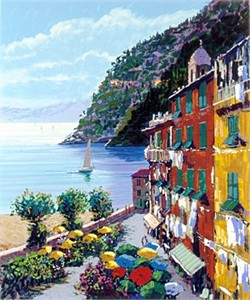 "Kerry Hallam Handsigned & Numbered Limited Edition Serigraph:""Cinqueterre """