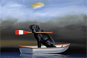 "Robert Deyber Artist Signed Limited Edition Hand-crafted Stone Lithograph:""Doggie Paddle"""