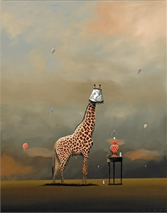 "Robert Deyber Artist Signed Limited Edition Hand-crafted Stone Lithograph:""The Party Animal II – Giraffe"""
