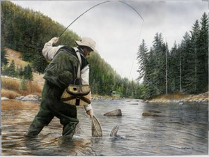 """Kevin Daniel Hand Signed and Numbered Limited Edition Giclee: """"Fishing The Gallatin"""""""