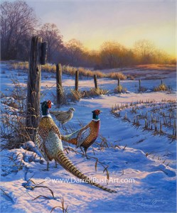 """Darrell Bush Hand Signed and Numbered Limited Edition Giclee:""""Fence Line Pheasants"""""""