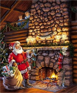 "Darrell Bush Hand Signed and Numbered Limited Edition Giclee:""Santas Surprise"""