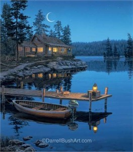 "Darrell Bush Hand Signed and Numbered Limited Edition Giclee:""Crescent Moon Bay"""