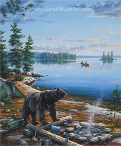 """Darrell Bush Hand Signed and Numbered Limited Edition Giclee:""""Curious Camper"""""""