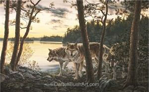 "Darrell Bush Hand Signed and Numbered Limited Edition Giclee:""Twilight Encounter"""