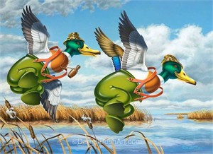"Darrell Bush Hand Signed and Numbered Limited Edition Giclee:""Puddle Jumpers"""