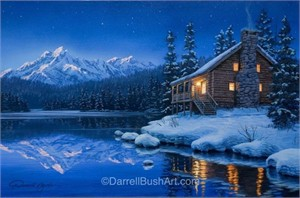 """Darrell Bush Hand Signed and Numbered Limited Edition Giclee:""""Quiet Camp"""""""