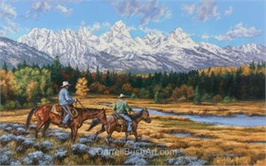 """Darrell Bush Hand Signed and Numbered Limited Edition Giclee:""""Cowboys & Tetons"""""""